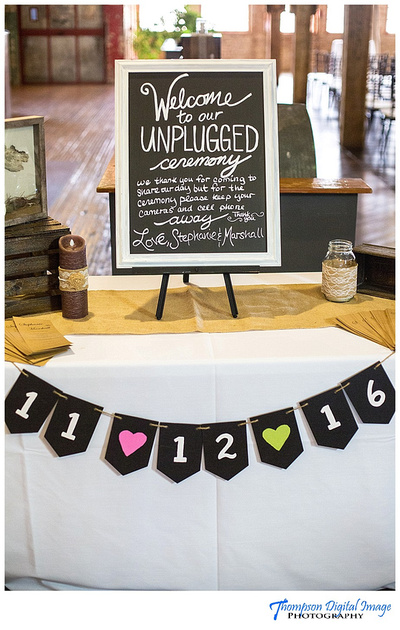 Unplugged wedding sign from bride and groom